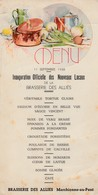 Menu ,Brasserie Des Alliés ,Marchienne-au-Pont ,Inauguration Des Nouveaux Locaux 11-9-1938,( Bière ,bières , Brasseur ) - Menus