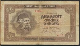 °°° SERBIA - 20 DINARA 1941 °°° - Serbia