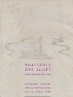 Menu ,Brasserie Des Alliés ,Marchienne-au-Pont ,banquet Annuel Des Actionnaires ,12-4-1953( Bière ,bières , Brasseur ) - Menus