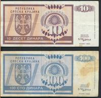°°° REPUBLIKA SRPSKA KRAJINA CROAZIA SERBIA - 10 100 DINARA 1992 °°° - Croazia