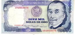 Peru P.124 10000 Soles 1981 Au+ - Perú
