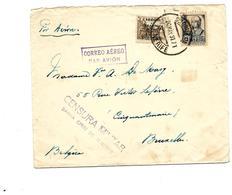 PA 124 + TP 585 S/Lettre De Sta Cruz De Tenerife 20 MAY 37 Par AVION V. Bruxelles - CENSURA MILITAR/SANTA CRUZ - Marcas De Censura Nacional