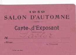 IDENTIFICATION CARD TARJETA IDENTIFICAION EXPO 1949 ART SALON D'AUTOMNE MONTAPNAC- BLEUP - Documenti Storici