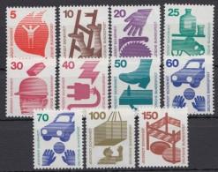 """Mi-Nr. 694/703, 773 Ra, """"Unfall"""", Alle 11 Werte Mit Schwarzer Nummer Rückseitig, ** - BRD"""