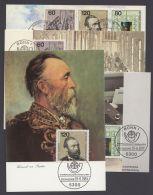 """Mi-Nr. 1215/7, """"Weltpostkongress"""", 1984, Einzelwerte Und 3er Streifen Aus Block Auf 4 Farbigen MK Mit ESst - BRD"""