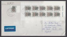 Mi-Nr. 2139, Kplt. 10erBogen + Einzelwert Als MeF Auf Luftpost-AK Nach England - BRD