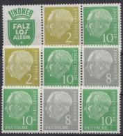 "Mi-Nr. W 10, W 13, W 16, ""Heuß"", 3 Versch. 3er ZD, ** - BRD"