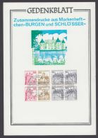 """Mi-Nr. MHBl. 26, """"Burgen Und Schlösser"""", Heftchenblatt 1977 Auf Dek. Gedenkblatt  Mit ESst - BRD"""