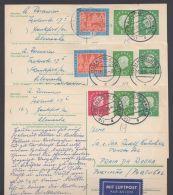 Mi-Nr. P37, 3 Bedarfsluftpostkarten Nach Portugal Mit Dek. Zfr., O - BRD