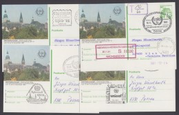 "Mi-Nr. P134, 4 Karten ""Radevormwald"", 4 Versch. Stempel ""UNO"", O - BRD"