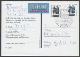 Mi-Nr. PFK 3, Mit Zfr. Per Luftpost In Die USA, O - BRD
