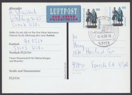 Mi-Nr. PFK 4Ib, Mit Zfr. Per Luftpost In Die USA, O - BRD