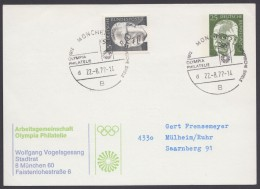 "Mi-Nr. PP 45 B2/02, ""AG Olympia Philatelie"", München 1972, Pass. Sst., Bedarf, O - Privatpostkarten - Gebraucht"