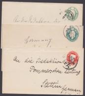 3 Bedarfs- Gs, Alle Nach Stettin, Aus 1898/1922, O - 1840-1901 (Viktoria)