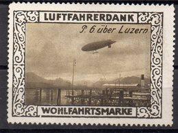 GERMANY 1915. LUFTFAHRT VIGNETTE LUFTFAHRERDANK WOHLFAHRTSMARKE FLUGZEUG ZEPPELIN P.6. ÜBER LUZERN - Airships