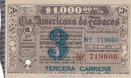 RIFA AÑO 1933 CIA AMERICANA DE TABACOS, TERCERA CARRERA. ARGENTINE- BLEUP - Biglietti Della Lotteria