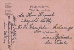 Feldpostkarte - Wien Nach K.k. Eisenbahn-Sicherungs Kompanie Opcina - 1917  (36036) - 1850-1918 Imperium