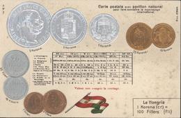 CPA Hongrie CP Avec Pavillon National Conversion Monnaie Pièce Pour Faire Connaitre Monnayage International HSM H.S.M. - Hungary