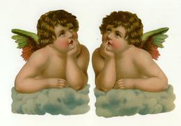 2   CHROMOS DECOUPIS   COUPLE D'ANGES   H :14 Cm - Angeles