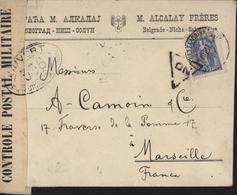 Guerre 14 Balkans Enveloppe Belgrade Salonique Niche YT 185 Iris CAD Grèce 25 AMP 1917  4F Triangle ON Censure Bordeaux - Marcophilie (Lettres)