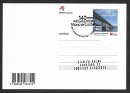 Portugal Entier Postal 2018 Pont Mixte Viana Do Castelo Cachet Chemin De Fer Stationery Mixed Bridge Pmk Railway Train - Bridges