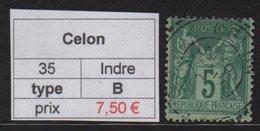 Celon - Indre - Type Sage - Marcophilie (Timbres Détachés)