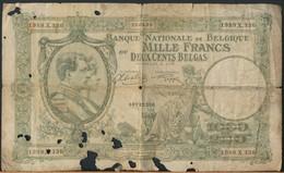 °°° BELGIO BELGIUM 1000 FRANCS 22/4/1943 °°° - [ 2] 1831-... : Regno Del Belgio