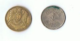 LOT 2 PIECES SYRIE - 10 PIASTRES 1970 - 5 HALALATS 1972 - Syrie
