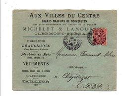 SEMEUSE SUR LETTRE A EN TETE DE CLERMONT FERRAND DU 20/8/1906 - Marcophilie (Lettres)