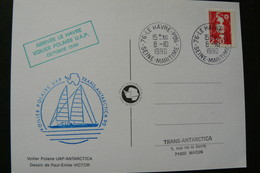 France - Arrivée Au Havre Du Voilier Polaire UAP-Antartica - CP De Paul Emile Victor Oblitérée Du 8 Oct 1990 - Ships