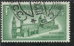 ITALIA REGNO ITALY KINGDOM 1944 RSI DUOMO DI PALERMO LIRE 1,25 USATO USED OBLITERE' - 4. 1944-45 Repubblica Sociale