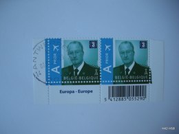 BELGIUM 2009. King Albert II - Europe 3. AIR Prior. SG 4226. Block Of 2, Cancelled And MNH - Neufs