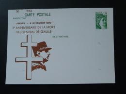 80 Somme Amiens 10 Ans Mort De De Gaulle (1.10F) Entier Postal Sabine De Gandon Stationery Card - De Gaulle (Generale)
