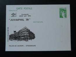 92 Hauts De Seine Courbevoie Palais De L'Europe Strasbourg Juvaphil 1979 Entier Postal Sabine De Gandon Stationery Card - Europese Instellingen
