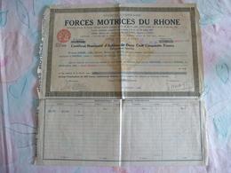 ACTION :FORCE MOTRICES DU RHONE 1942 - Eau