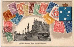 Old White Hart And Geand Hotels, MELBOURNE - Repr Timbres - CPA Gaufrée (107727) - Briefmarken (Abbildungen)