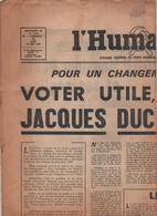 L'Humanité Jacques Duclos Supplément Jeudi 15 Mai 1969 - Journaux - Quotidiens