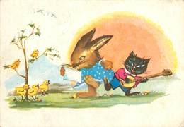 D1367 Music Band Easter Fantasy Chickens Black Cat Chat Noir Mandolin Rabbit - Autres