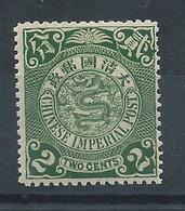 1905 CHINA CIP COILING DRAGON New Value 2cents OG MNH CHAN 129 - Unused Stamps
