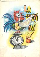 "D1367 Romania Greetings "" La Multi Ani ! "" New Year Cock Clock Caricature - Nouvel An"