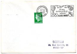 OISEAU / CHOUETTE = 94 VILLIERS Sur MARNE 1972 = FLAMME SECAP Illustrée D'une MONGOLFIERE 'APHIVIL' - Eulenvögel