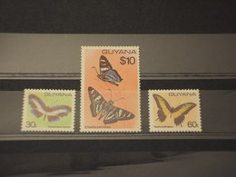 GUYANA - 1980 FARFALLE 3 VALORI - NUOVI(++) - Guiana (1966-...)