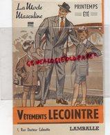 22- LAMBALLE - DEPLIANT PUBLICITAIRE VETEMENTS LECOINTRE -MODE MASCULINE PRINTEMPS ETE - 1ERE COMMUNION-GABARDINE - Advertising