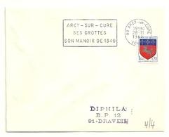 YONNE - Dépt N° 89 = ARCY Sur CURE 1968 = FLAMME SUPERBE = SECAP ' GROTTES / MANOIR De 1349 ' - Postmark Collection (Covers)
