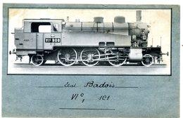 Photo  Sur  Carton - Locomotive Etat  Badois Type  VIc  1C1  N° 908 - Riproduzioni