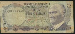 °°° TURKEY - 5 LIRA °°° - Turchia
