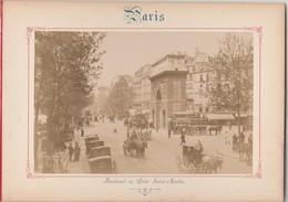 Photo PARIS Sur Carton Recto : Boulevard Et Porte St Martin , Verso : Place De La République - Voir Description - Photos