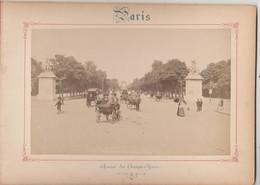 Photo PARIS Sur Carton Recto : Avenue Des Champs Elysées , Verso :  Les 2 Palais Et Avenue Nicolas II - Voir Description - Photos