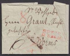 """Vorphila: """"Speier"""", Roter L2 Auf Tax. Brief Mit Inhalt, 1823 - Bavaria"""