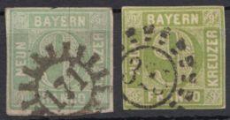 """Mi-Nr. 5, 2 Werte In Versch. Farben, GMR """"171"""" Und OMR """"325"""", O - Bayern"""